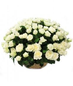 """Корзина """"201 белая роза"""""""