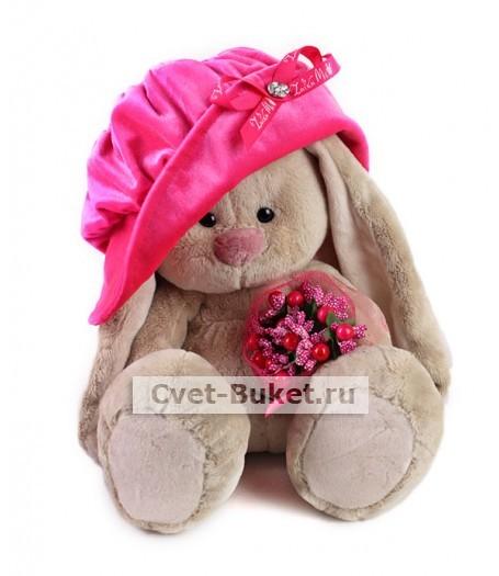 Мягкая игрушка - Зайка Ми в бархатной шляпе с букетиком (большой)