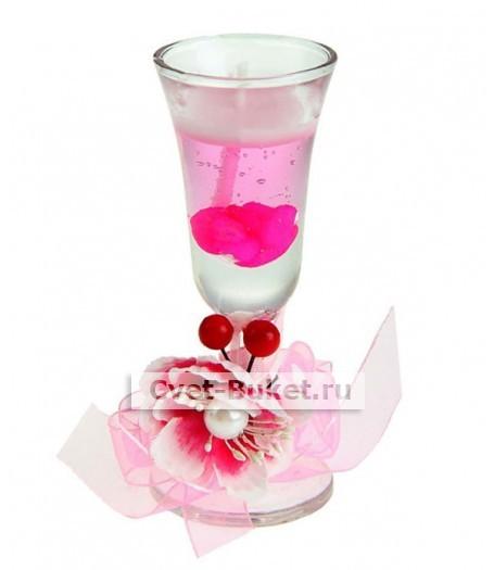 Гелевая свеча - Цветок с вишенками